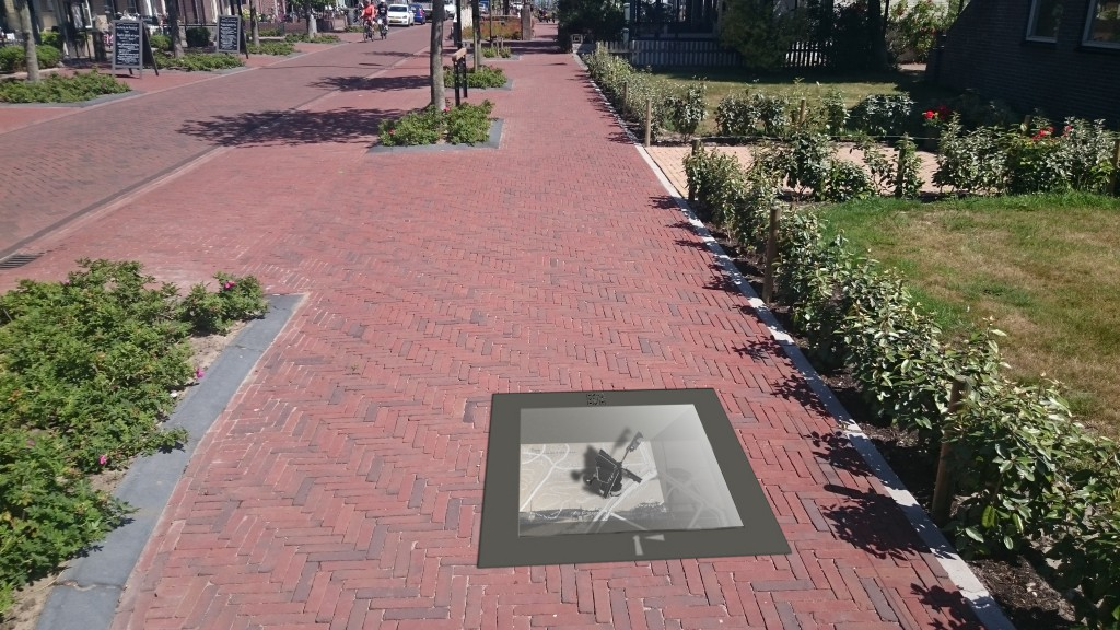 Montage van een straatvitrine in de openbare ruimte